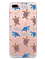 baratos -Capinha Para Apple iPhone 7 Plus iPhone 7 Transparente Estampada Capa traseira Animal Macia TPU para iPhone 7 Plus iPhone 7 iPhone 6s