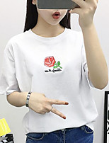 Women's Casual/Daily Simple Summer T-shirt,Embroidery Round Neck Short Sleeves Cotton Medium