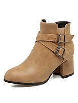 Women's Shoes Leatherette Fall Winter Comfort Boots Chunky Heel Round Toe Booties/Ankle Boots Zipper For Casual Dress Office & Career
