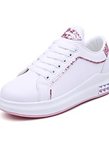 Women's Sneakers Formal Shoes PU Fall Casual Office & Career Rhinestone  Low Heel Blushing Pink Black White 1in-1 3/4in