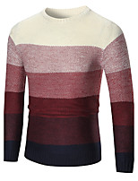 cheap -Men's Daily Casual Color Block Round Neck Sweater Pullover, Long Sleeves Winter Fall Polyester Spandex