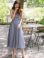 Women's Casual/Daily Simple Summer Tank Top Skirt Suits,Plaid/Check Strapless Sleeveless