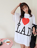 Women's Going out Cute T-shirt,Letter Round Neck Half Sleeves Cotton