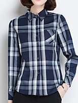 Women's Casual/Daily Simple Shirt,Print Square Neck Long Sleeves Cotton Others