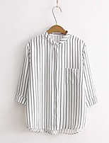 Camicia Da donna Per uscire Casual Semplice Romantico Moda città Estate Autunno,A strisce Colletto Cotone Lino Manica lungaSottile Medio