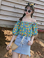 Women's Going out Sexy Shirt,Solid Floral Off Shoulder Short Sleeves Polyester