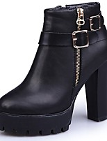 Women's Boots Combat Boots Fall Winter PU Casual Zipper Low Heel Ruby Black 3in-3 3/4in