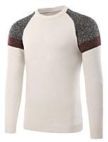 Normal Pullover Homme Sports Sortie Décontracté / Quotidien simple,Couleur Pleine Col Arrondi Manches Longues Laine Automne Hiver Moyen