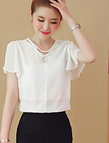 Women's Casual/Daily Simple Blouse,Solid V Neck Short Sleeves Others