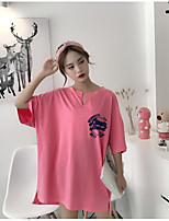 Women's Casual/Daily Simple T-shirt,Solid Print Letter Round Neck Half Sleeves Cotton