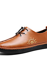 Men's Oxfords Moccasin Spring Fall Cowhide Casual Outdoor Gore Flat Heel Brown Silver Black Flat