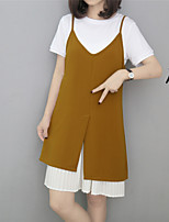Women's Casual/Daily Active Summer T-shirt Skirt Suits,Solid Strap Short Sleeve