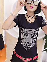 Women's Casual/Daily Sexy T-shirt,Solid Print Round Neck Short Sleeves Cotton