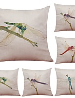 Set of 6 Dragonfly Pattern Linen Cushion Cover Home Office Sofa Square Pillow Case Decorative Cushion Covers Pillowcases (18*18Inch)