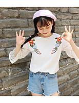 Damen Druck Einfarbig Einfach Lässig/Alltäglich T-shirt,Rundhalsausschnitt Langarm Baumwolle