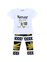 Girls' Print Sets Cotton Polyester Summer Fall Short Sleeve Clothing Set Never Grow Up Kids Girls Clothes Suits