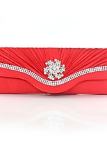 Women Bags Winter All Seasons Silk Clutch with Rhinestone Pleated for Wedding Event/Party Casual Formal Outdoor Red