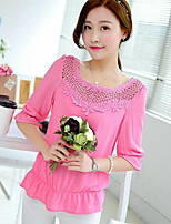 Women's Casual/Daily Simple Blouse,Solid Round Neck 3/4 Length Sleeves Cotton