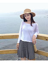 Women's Going out Simple Summer Blouse Skirt Suits,Striped Round Neck Long Sleeve
