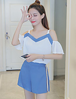 Women's Casual/Daily Simple Summer T-shirt Pant Suits,Solid Off Shoulder Short Sleeve Micro-elastic