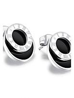 Per donna Orecchini a bottone Orecchini Set Zirconi stile della Boemia Tasselli Di tendenza Acciaio al titanio Placcato in oroCircolare A