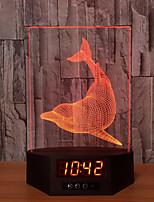 Basa Dolphins Acrylic 3D Night Light Ban Led Calendar Desk Lamp Colors Change