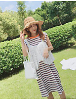 Women's Casual/Daily Simple Summer T-shirt Skirt Suits,Striped Round Neck Sleeveless