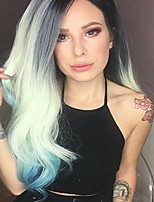 Uniwigs New Arrival Heat Friendly Synthetic Fiber Lace Front Wig Ombre Gray to Green Colors Long Wave Style wig for Fashion Women