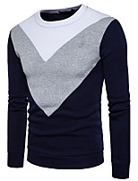 Men's Sports Casual/Daily Simple Sweatshirt Color Block Round Neck Micro-elastic Cotton Long Sleeve Spring Fall