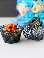 50pcs/Lot Black Little Vine Lace Laser Cut Cupcake Wrappers Liner Baking Cup For Home Wedding Party Birthday Decoration