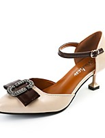 Women's Heels Comfort Summer PU Dress Buckle Kitten Heel Black Beige Brown 1in-1 3/4in