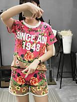 Для женщин На каждый день Лето Как у футболки Брюки Костюмы Круглый вырез,Простой Цветочный принт С короткими рукавами