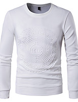 Men's Casual/Daily Sweatshirt Solid Round Neck Micro-elastic Others Long Sleeve Spring Fall