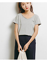 Women's Casual/Daily Simple Summer T-shirt,Solid Round Neck Short Sleeves Cotton Thin