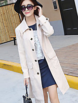 Women's Going out Casual/Daily Simple Spring Fall Coat,Solid Peter Pan Collar Long Sleeve Long Cotton