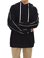 Felpa con cappuccio Da uomo Casual Tinta unita Media elasticità Cotone Poliestere Manica lunga Autunno Inverno
