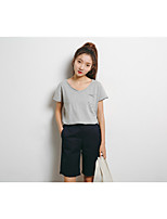 Women's Sports Vintage T-shirt,Solid Round Neck Short Sleeves Silk