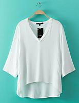 Damen Solide Einfach Ausgehen Lässig/Alltäglich Hemd,V-Ausschnitt Sommer 3/4 Ärmel Baumwolle Dünn Mittel