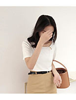 Tee-shirt Femme,Couleur Pleine Décontracté / Quotidien simple Manches Courtes Col Arrondi Coton