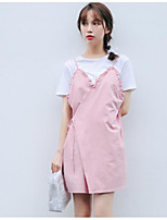 Women's Going out Cute Summer T-shirt Skirt Suits,Solid Round Neck Short Sleeve