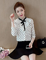 Women's Casual/Daily Simple Shirt,Solid Polka Dot Round Neck Long Sleeves Cotton