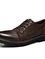 Недорогие -Муж. обувь Дерматин Кожа Весна Лето Удобная обувь Туфли на шнуровке для Повседневные Черный Коричневый