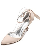 Women's Shoes Satin Spring Summer D'Orsay & Two-Piece Basic Pump Comfort Wedding Shoes Pointed Toe Rhinestone Bowknot Sparkling Glitter