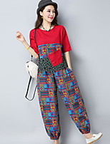 Women's Casual/Daily Chinoiserie Summer T-shirt Pant Suits,Print Round Neck Half Sleeves