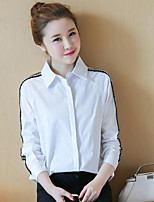 Women's Going out Simple Shirt,Solid Shirt Collar Long Sleeves Cotton