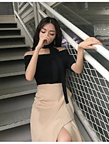 Women's Casual/Daily Simple Shirt,Solid Off Shoulder Short Sleeves Cotton
