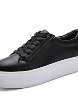 Women's Sneakers Comfort Spring Fall Cowhide Walking Shoes Casual Lace-up Low Heel Black White 2in-2 3/4in