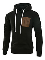 Men's Sports Casual/Daily Simple Hoodie Solid Hooded Micro-elastic Acrylic Long Sleeve Fall