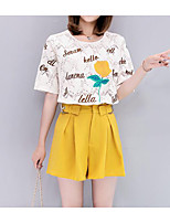 Women's Summer Blouse Pant Suits,Letter Round Neck Short Sleeve