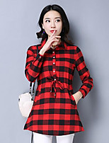 Women's Casual/Daily Simple Spring Shirt,Plaid Shirt Collar Long Sleeves Cotton Medium